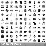 100 police icons set, simple style. 100 police icons set in simple style for any design vector illustration Stock Image