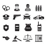 Police icons. Vector illustrations. Police icons set. Vector illustrations vector illustration