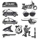 Police icons. In silhouette color theme stock illustration