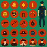 Police icons Stock Photo