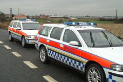 Police incident, accident, road closed. Police accident, road closed due to ongoing incident, stop police stock images