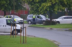 Police incident car crash, RTC. Police emergency incident car crash into car, RTC road traffic casualty royalty free stock photo