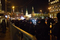 The police and internal troops protect the Kremlin Stock Photo