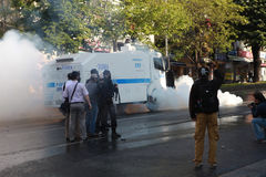 POLICE INTERVENE IN MAY DAY IN ISTANBUL. ISTANBUL - MAY 1: View of May Day in Istanbul. Police  intervene with gas and water to thousands of workers and people Stock Photos