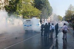 POLICE INTERVENE IN MAY DAY IN ISTANBUL. ISTANBUL - MAY 1: View of May Day in Istanbul. Police  intervene with gas and water to thousands of workers and people Stock Photography