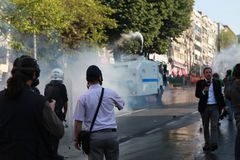 POLICE INTERVENE IN MAY DAY IN ISTANBUL. Stock Photography