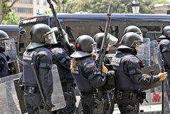Police intervention, Barcelona, Spain Royalty Free Stock Photo
