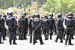 Police intervention, Barcelona, Spain Stock Photo