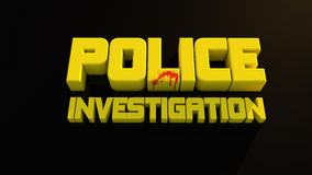 Police investigation. 3d design. Police investigation text and black background Royalty Free Stock Photos