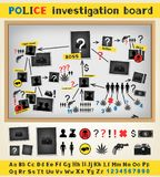 Police investigation board. Structure scheme constructor set to solve a crime. Criminal gang mafia group plan. Cops works board Stock Photography