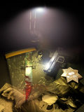 Police investigation. A light illuminates a pistol, a police badge, some photographies and an evidence bag with a blooded dagger on a table Royalty Free Stock Photo