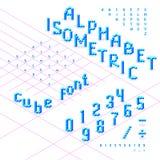 Police isométrique, alphabet, ABC des cubes bleus Images libres de droits
