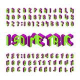 Police isométrique d'alphabet lettres et nombres de l'effet 3D D'isolement sur le fond blanc illustration de vecteur