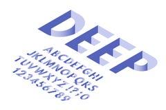 Police isométrique de trou Nombres de lettres d'alphabet de typographie de trous profonds, de polices 3d et ensemble de symboles  illustration stock