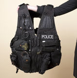 Police issue tactical vest. As worn by a police officer when on duty stock photos