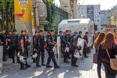 Police on Istiklal Avenue in Istanbul Stock Photo