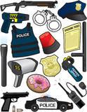 Police Items. Items/equipment used by police officers Stock Photography