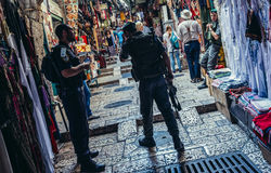 Police in Jerusalem. Jerusalem, Israel - October 22, 2015. Officers of Israeli Border Police called Magav on Arab baazar located inside the walls of the Old City stock image