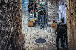 Police in Jerusalem. Jerusalem, Israel - October 22, 2015. Officers of Israeli Border Police called Magav on Arab baazar located inside the walls of the Old City stock images