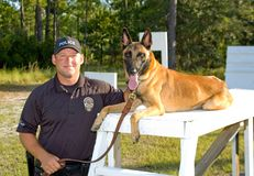Police K9. Police officer and his trusty k9 partner Stock Photo
