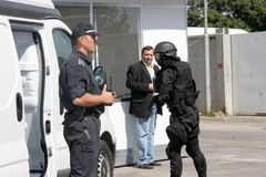 Police keep detained criminals in the city of Sofia, Bulgaria – sep, 11,2007. Crime scene. Criminals. Suspicious package.  Royalty Free Stock Images