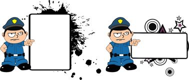 Police kid expression cartoon copyspace angry Stock Photo