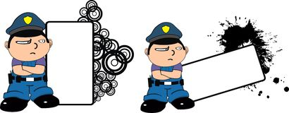 Police kid expression cartoon copyspace grumpy Royalty Free Stock Photos