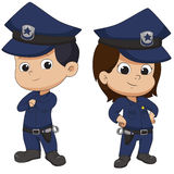 Police kid standing. Vector and illustration vector illustration