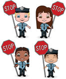 Police Kids with Stop Signs. This is a vector illustration set of a variety of children dressed as police officers and holding stop signs Stock Image