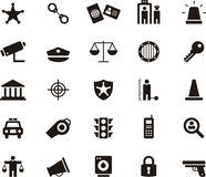 Police and Law Enforcement Glyph Icons Stock Photography