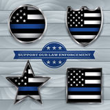 Police and Law Enforcement Support Flag Badge Illustration. American flag badges and emblems symbolic of support for law enforcement. Vector EPS 10 available Royalty Free Stock Photo