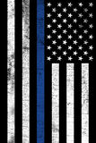 Police Law Enforcemtnt Support Vertical Textured Flag. A police law enforcement support flag shown vertically with a grunge texture Stock Photo