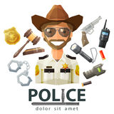 Police, law icons. set of elements - gavel Royalty Free Stock Image