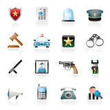 Police, law and security icons Royalty Free Stock Image