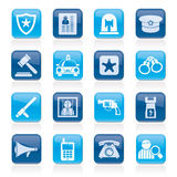 Police, law and security icons Stock Image
