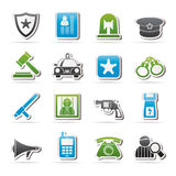 Police, law and security icons Royalty Free Stock Images
