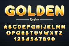Police, lettres d'or et illustration brillantes d'or de nombres illustration libre de droits