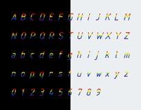 Police, lettres et nombres de couleurs de drapeau d'arc-en-ciel illustration stock
