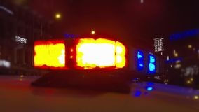 Police lights atop of a police car stock footage