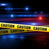 Police lights and caution tapes. Yellow caution ribbon for isolation crime scene. Vector illustration Royalty Free Stock Photo