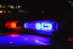Police lights by night Stock Images