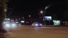 Police lights. Police car at night stock video footage