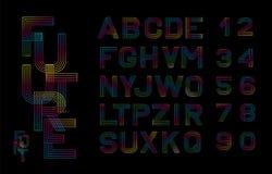 Police linéaire de vecteur Lignes multicolores d'alphabet Alphabet simple et minimaliste dans la ligne style mono Alphabet de Dig Image stock