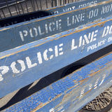 Police line. Group of wooden police barricades in the city of new york, usa royalty free stock images