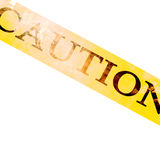 Police line. 'caution' on white background Stock Photography