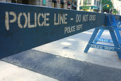 Police Line. A blue barrier that says Police Line Do Not Cross Police Department Royalty Free Stock Photography