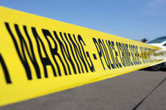 Police line. At crime scene Stock Image