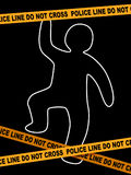 Police Line Crime Scene with dead Body Trace Stock Images