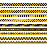 Police line, crime scene, do not cross vector seamless stripes. Set of yellow and black inhibition lines Stock Image