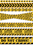 Police Line, Crime Scene And Warning Tapes. Illustration of a set of seamless grunge police and do not cross lines, danger sign, crime and warning tapes Stock Photography